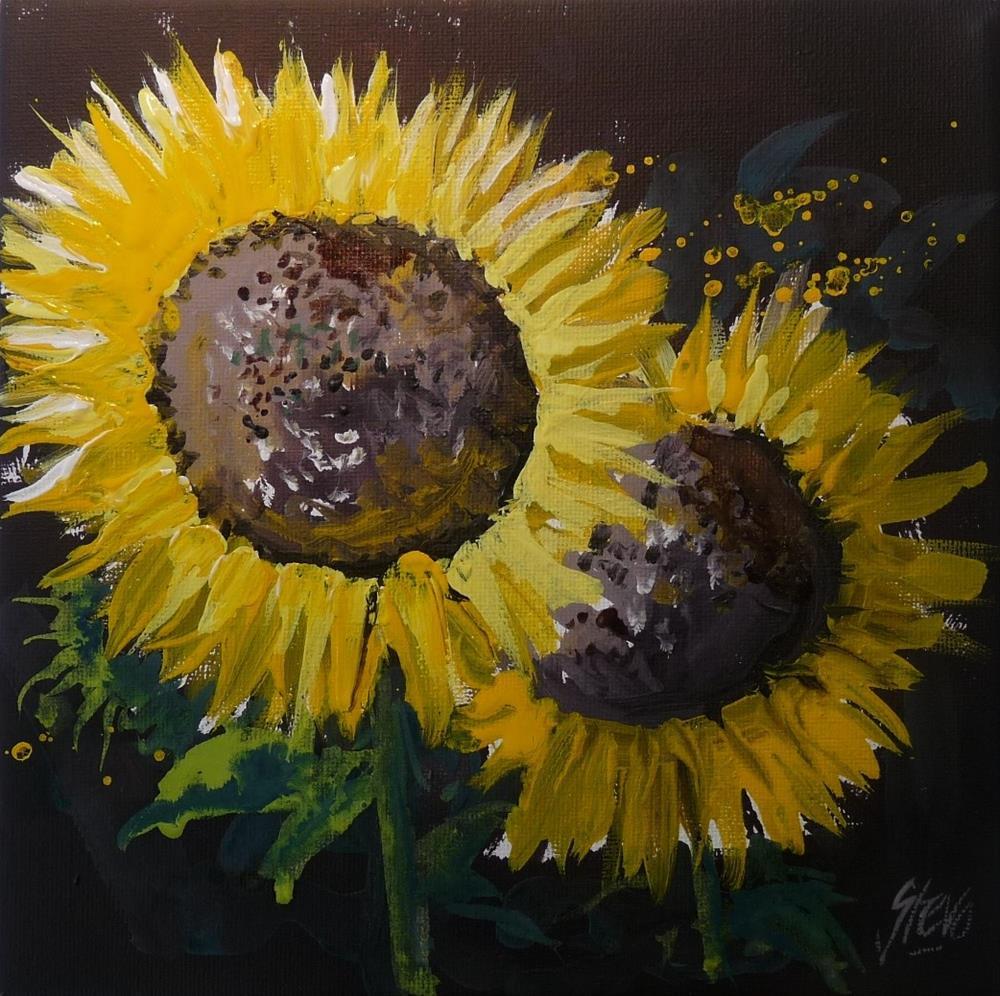 """Two Sunflowers"" original fine art by Martin Stephenson"