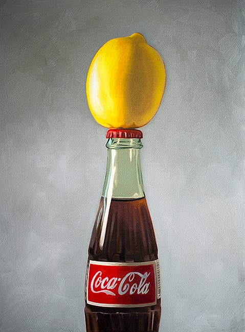 """Lemon Coca Cola Bottle"" original fine art by Lauren Pretorius"
