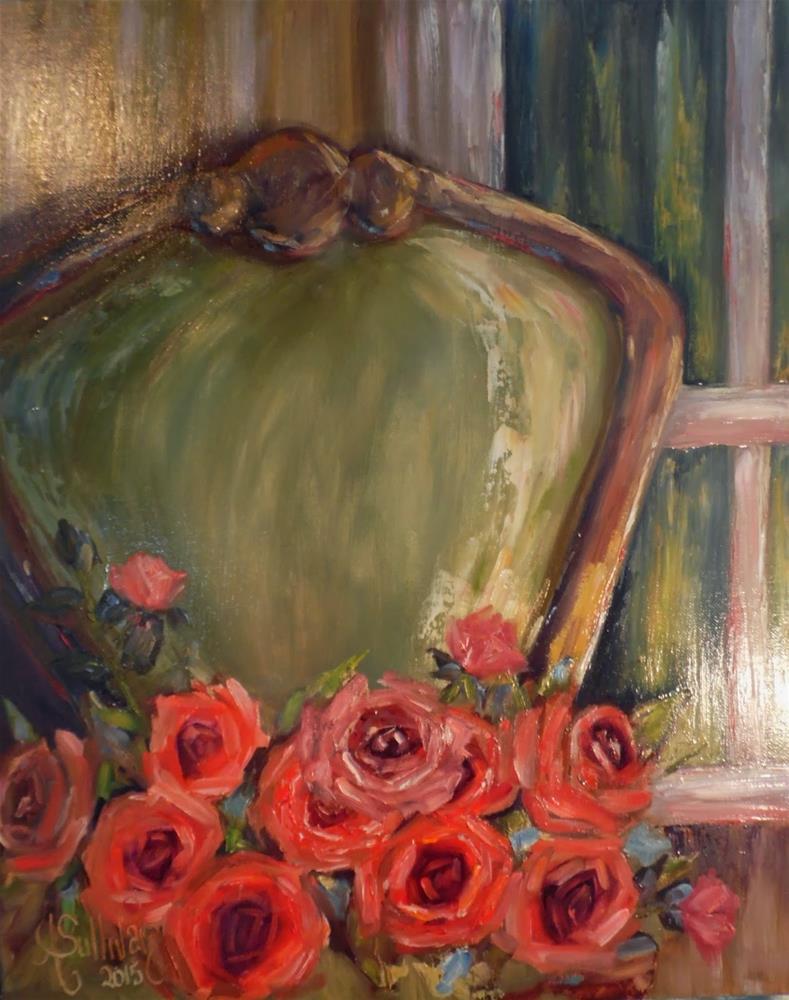 """Sitting Pretty rose painting by Alabama Artist Angela Sullivan"" original fine art by Angela Sullivan"