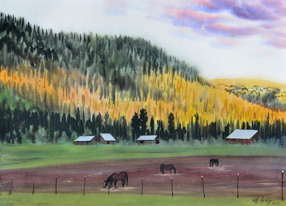 """Elk River Ranch Pastoral"" original fine art by Jeff Atnip"