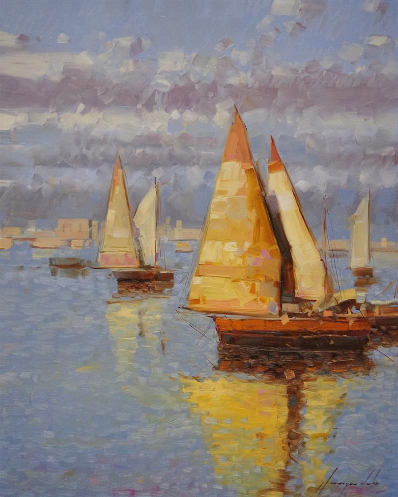 """Sail Boats, Original oil Painting, Handmade art"" original fine art by V Yeremyan"