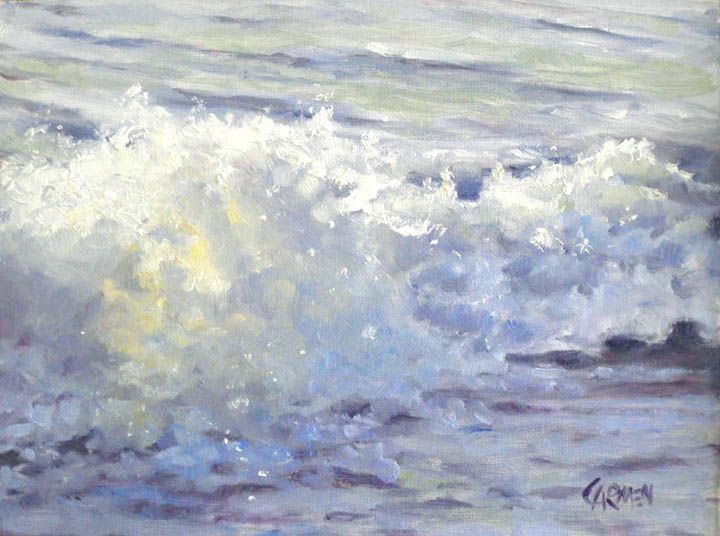 """Beach Tide, 6x8 Oil on Gessoboard"" original fine art by Carmen Beecher"