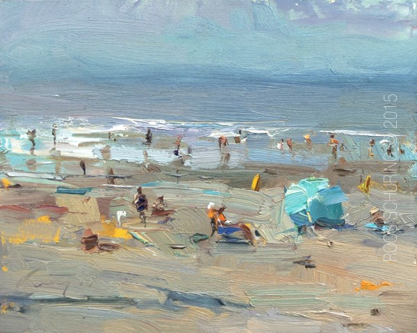 """Seascape Pleinair ""Sunny Beach and Parasol"" (sold)"" original fine art by Roos Schuring"
