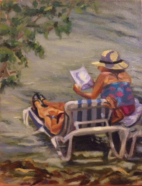 """Beach Read"" original fine art by Marjie Laizure"