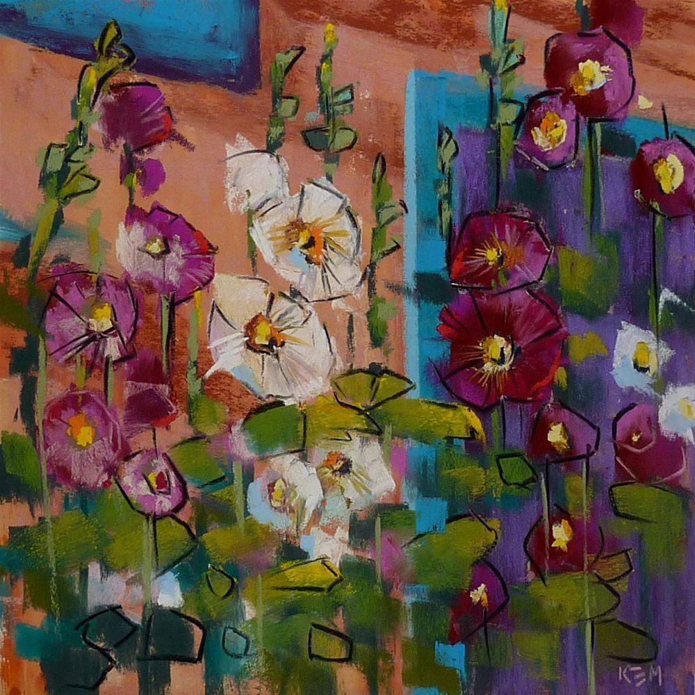"""""""Pastel Demo...Hollyhocks in New Mexico"""" original fine art by Karen Margulis"""