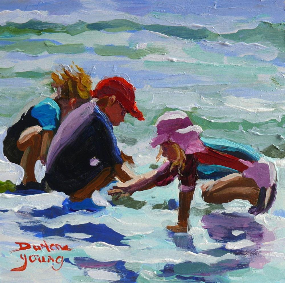 """850 Beach Tots, Willows Beach, oil on board, 6x6"" original fine art by Darlene Young"