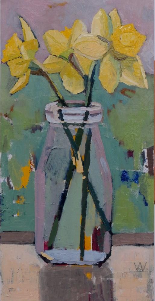 """Silver Day Daffodils"" original fine art by Joan Wiberg"