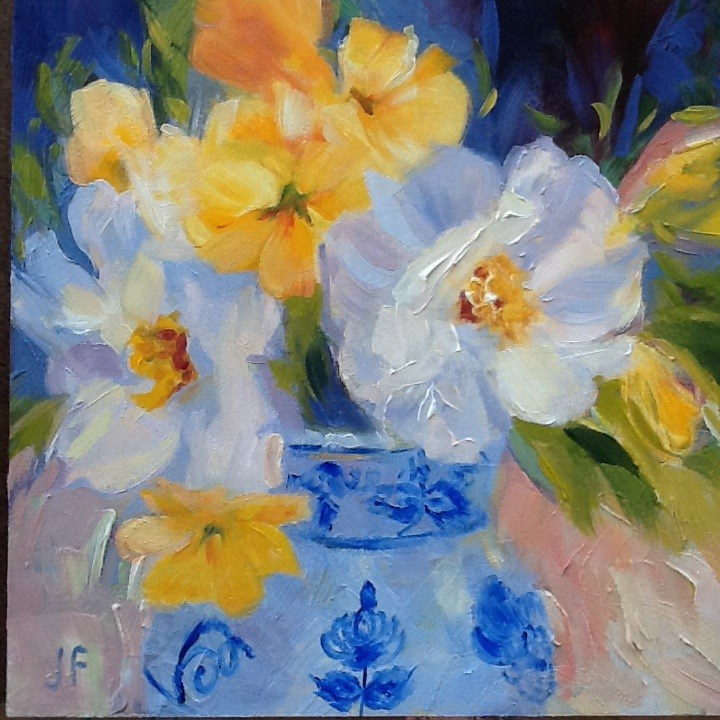 """""""Blue and White Vase with Camillias and Friends"""" original fine art by Jean Fitzgerald"""