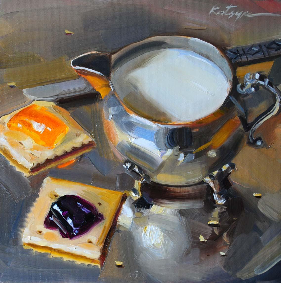 """Crackers With Milk"" original fine art by Elena Katsyura"