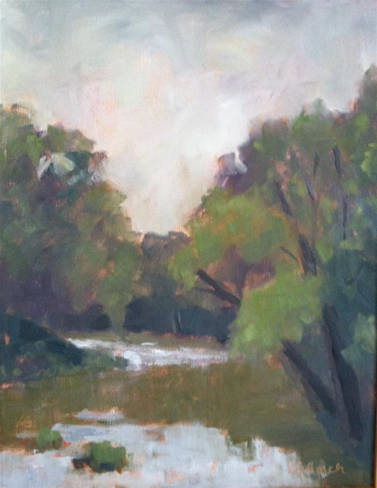 """Foggy Morning on the Cowpasture River"" original fine art by Katharine March"