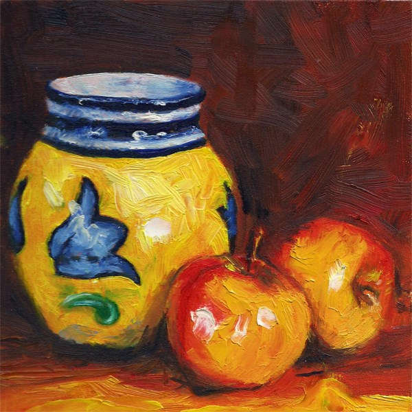 """Spanish vase with apples"" original fine art by Peter J Sandford"