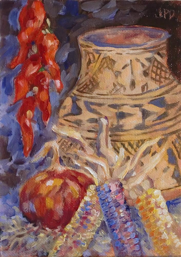 """Indian corn and pottery"" original fine art by Jean Pierre DeBernay"