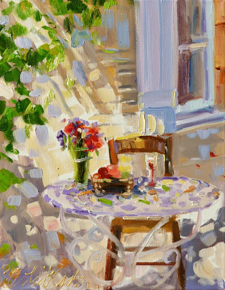 """PATIO IN PROVENCE"" original fine art by Cecilia Rosslee"