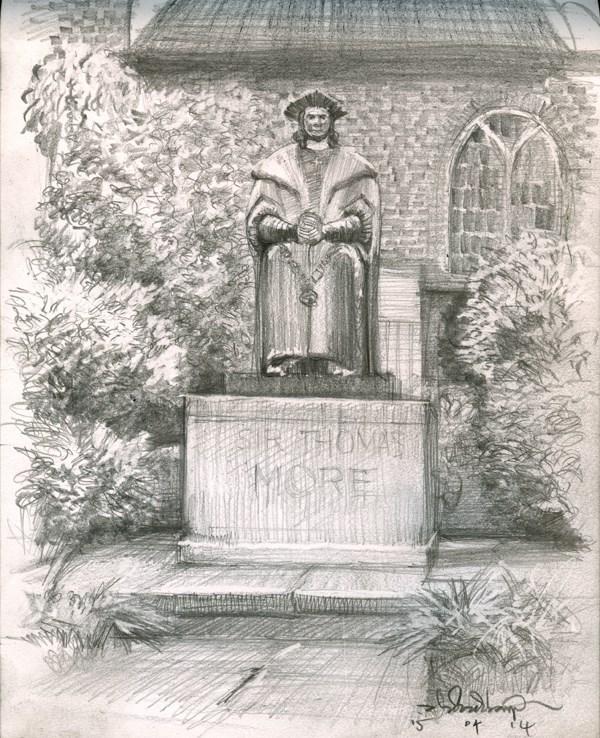 """""""Sketch of Thomas More Statue (15) Chelsea marathon"""" original fine art by Adebanji Alade"""
