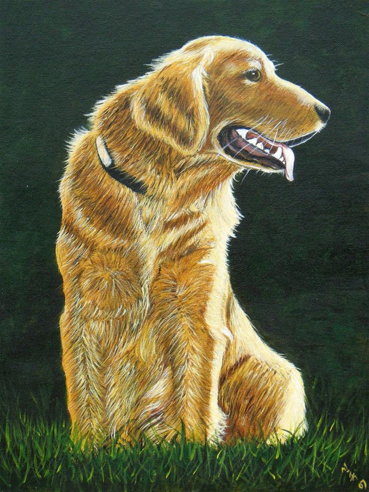 """golden retriever, personalized pet art"" original fine art by Sun Sohovich"