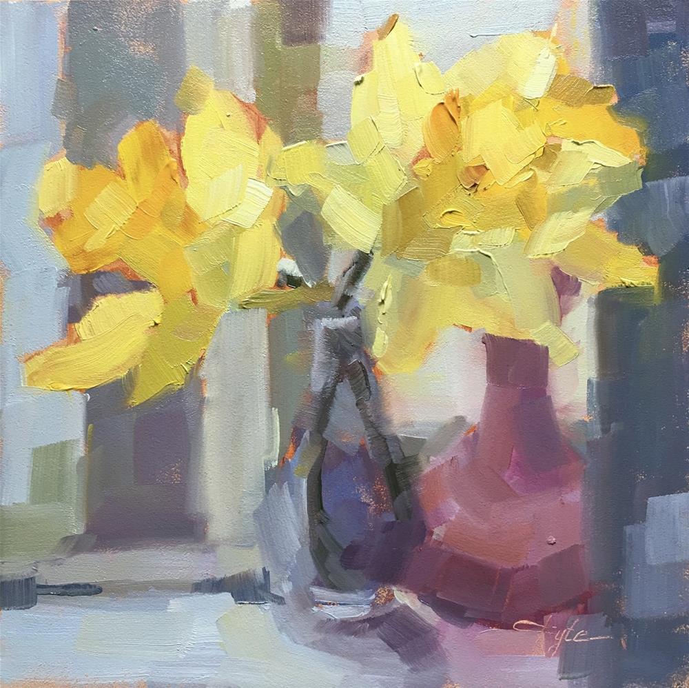 """Daffodils with Purple Vases"" original fine art by Katia Kyte"