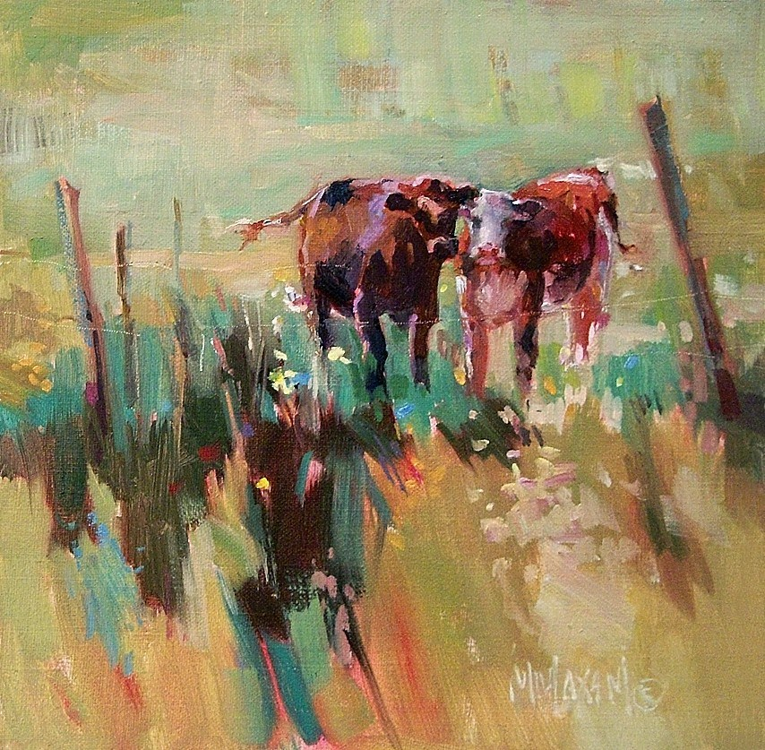 """At Home On The Range,  more solvent-free painting"" original fine art by Mary Maxam"