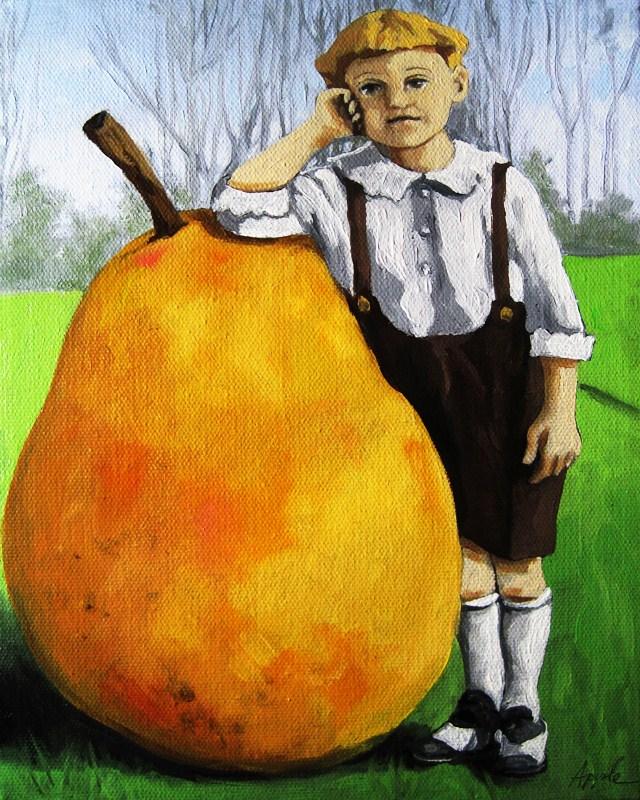 """Unlikely Pear - vintage fantasy image oil painting"" original fine art by Linda Apple"