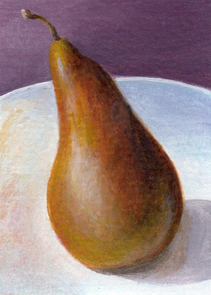 """Leaning Pear"" original fine art by Debbie Shirley"