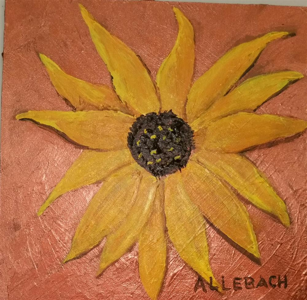 """bronze sunflower"" original fine art by Jo Allebach"