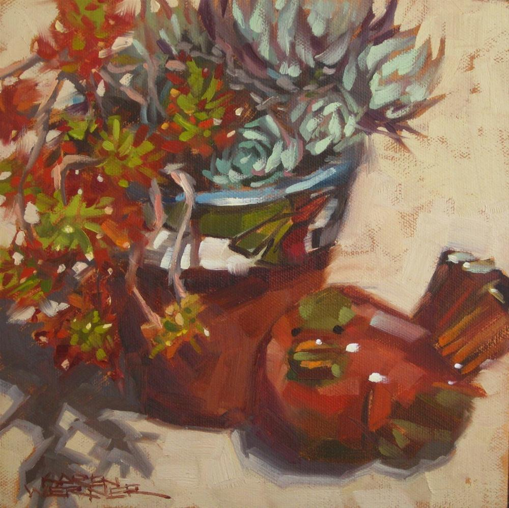 """Patio Pottery"" original fine art by Karen Werner"