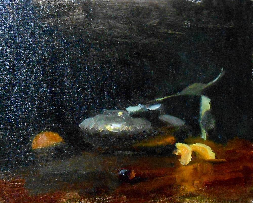 """Pewter and Orange Wedges"" original fine art by Kelli Folsom"