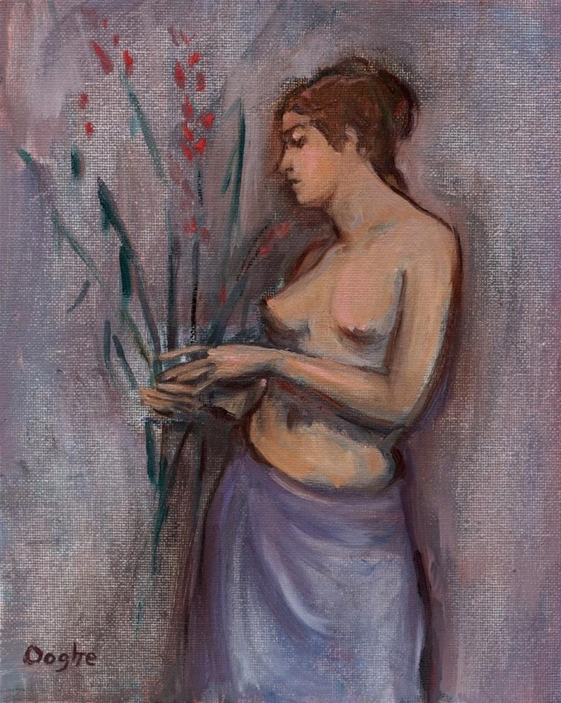 """Woman Holding Flowers"" original fine art by Angela Ooghe"