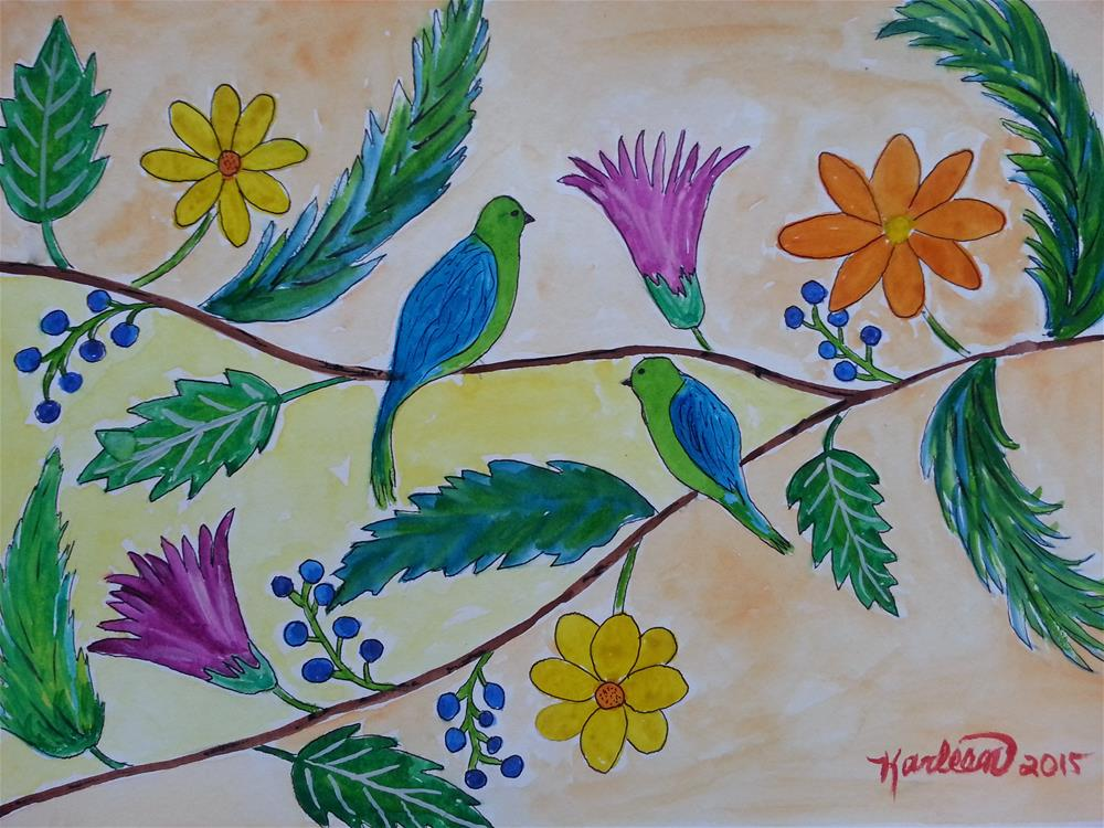 """Birds and Flowers"" original fine art by Karleen Kareem"