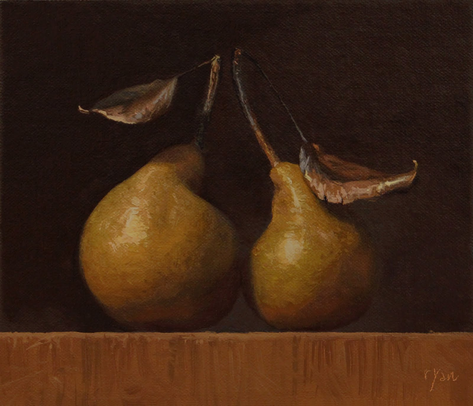 """Two Local Bosc Pears"" original fine art by Abbey Ryan"