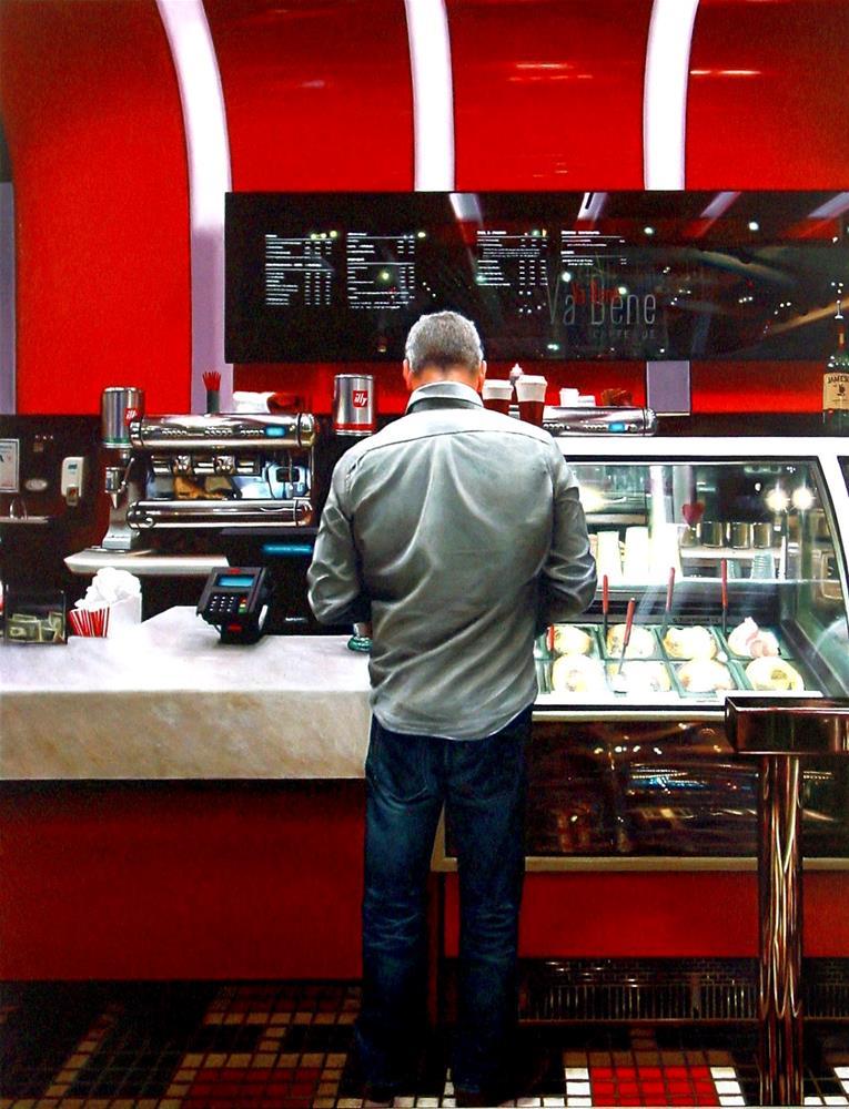 """Va Bene- Man Standing In Coffee Bar In Las Vegas"" original fine art by Gerard Boersma"
