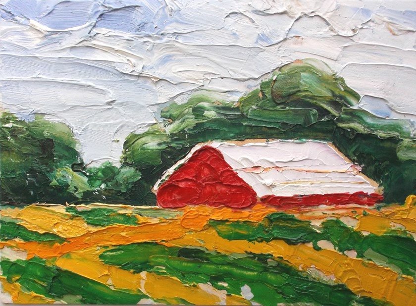 """Farm Barn and Fields"" original fine art by lynne french"