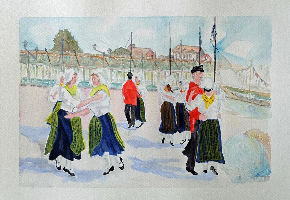"""Flemish Folk Dancers"" original fine art by Laura Denning"