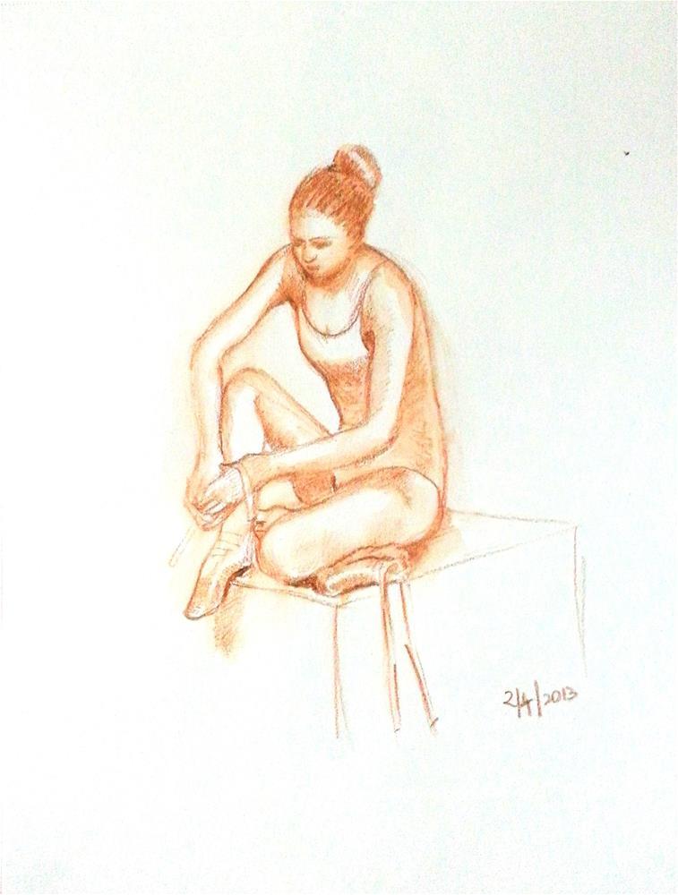 """The  pensive ballerina"" original fine art by Asha Shenoy S"