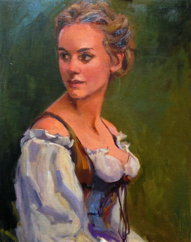 """Feeling a breeze through her hair"" original fine art by Laurie Johnson Lepkowska"
