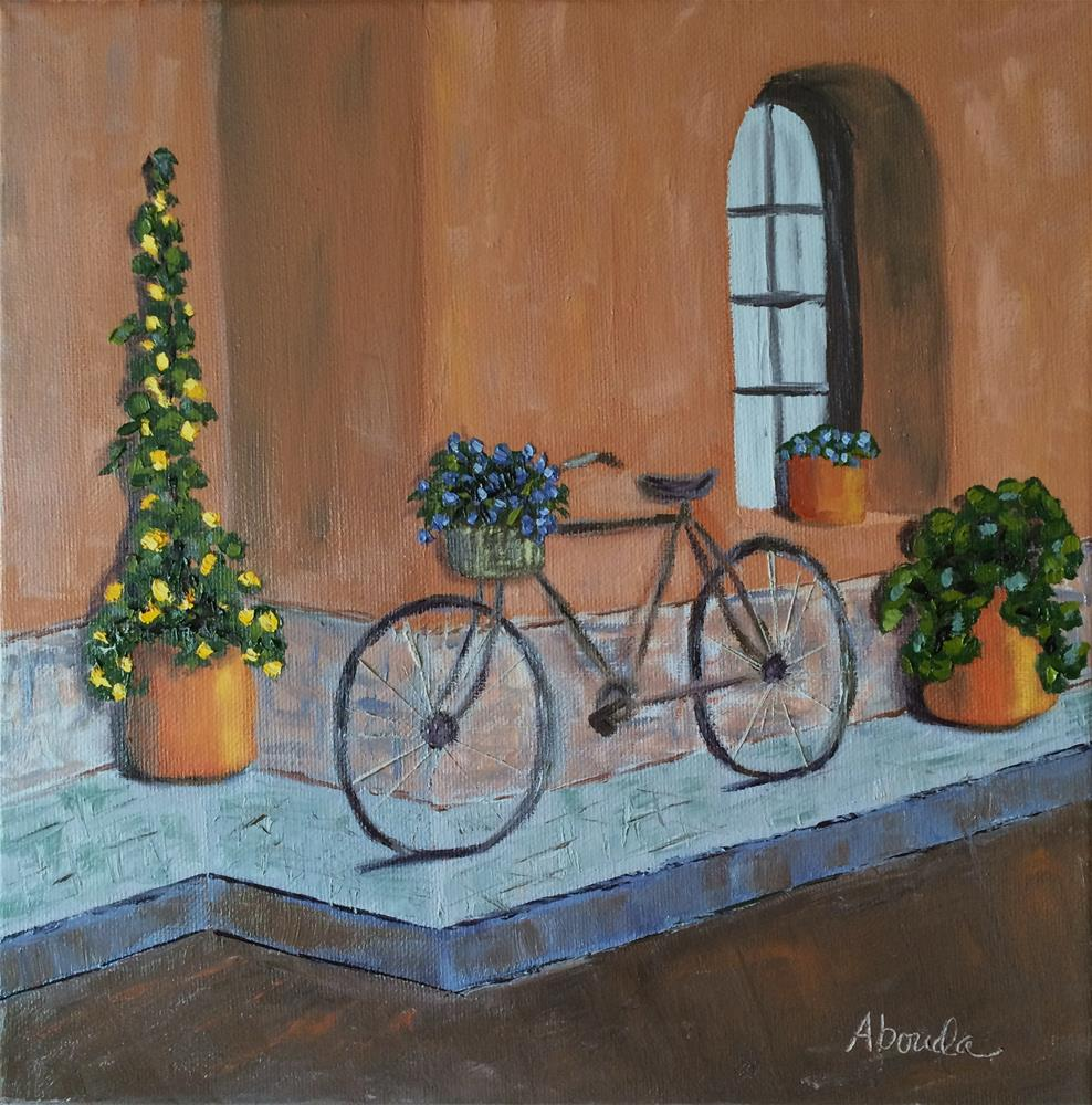 """Bicycle Flowers"" original fine art by Sandy Abouda"