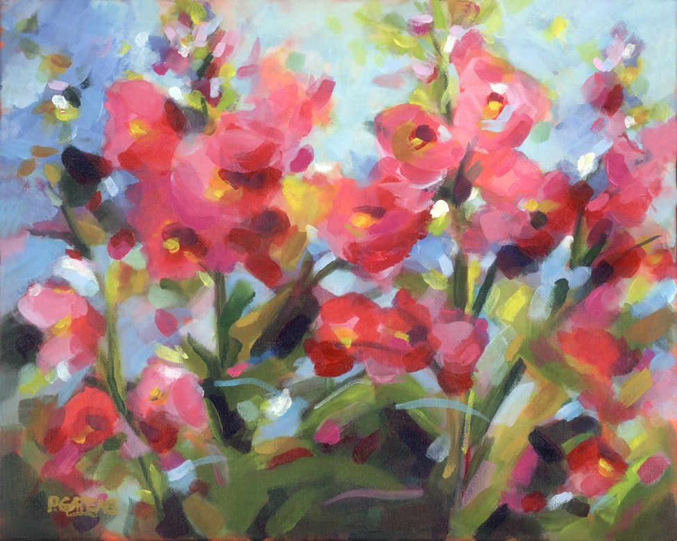 """Hollyhocks High and Low"" original fine art by Pamela Gatens"