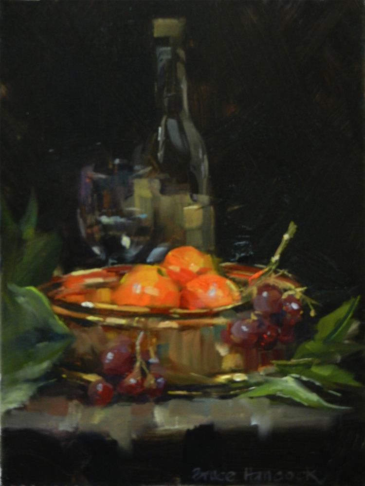 """Brass Bowl and Oranges"" original fine art by Bruce Hancock"