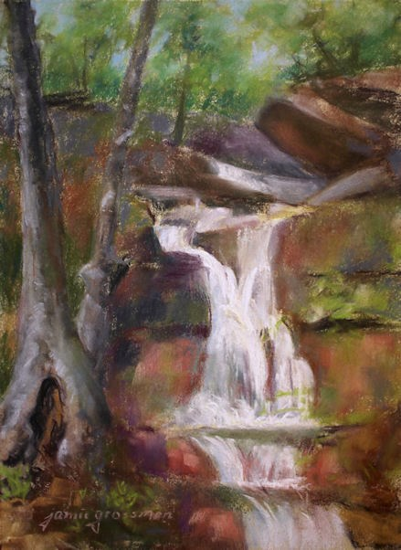 """Mossy Falls in Pastel"" original fine art by Jamie Williams Grossman"