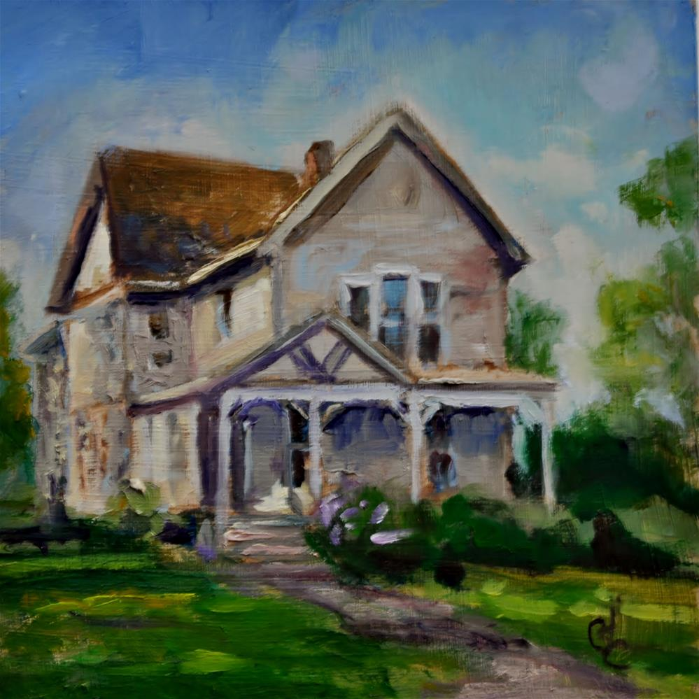 """Side Lighted Beige Home"" original fine art by Catherine Crookston"