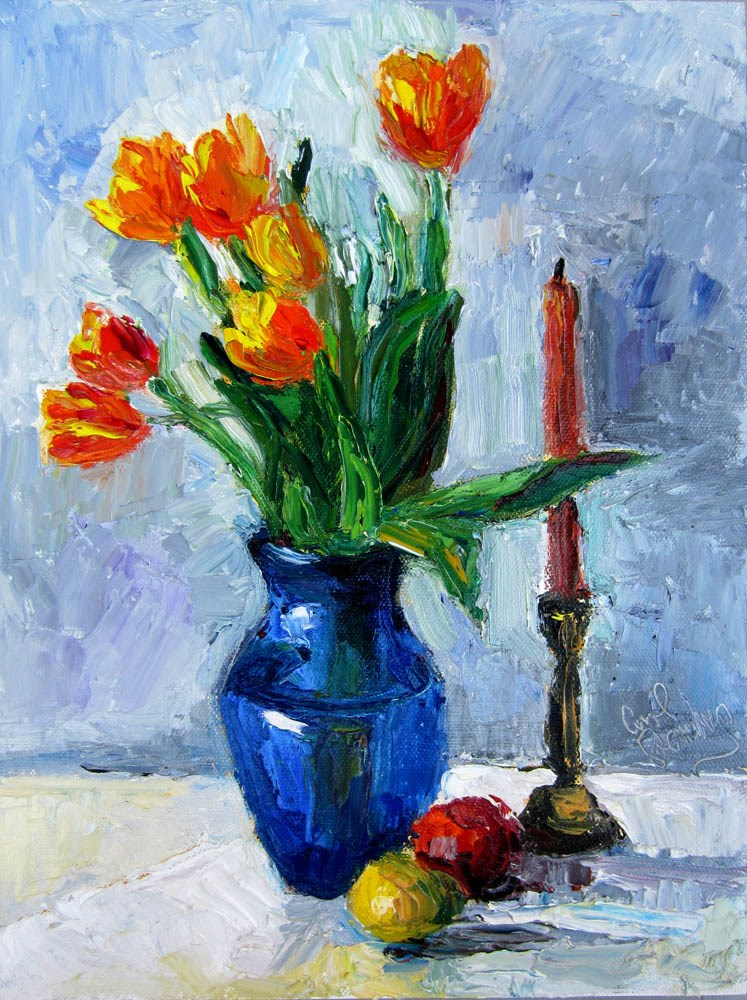 """Flame Tulips, Orange Candle"" original fine art by Carol Steinberg"