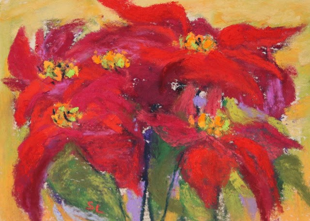 """Thankful for the Color Red"" original fine art by Sharon Lewis"