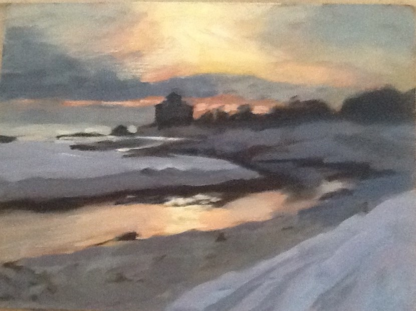 """Cold Good Harbor Morning"" original fine art by Elizabeth Bish"