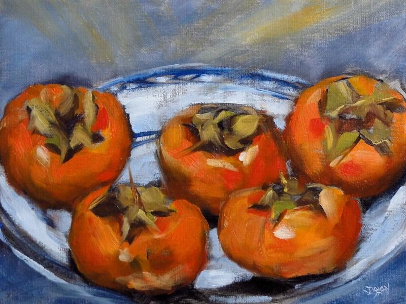 """Persimmon Platter"" original fine art by Dalan Wells"