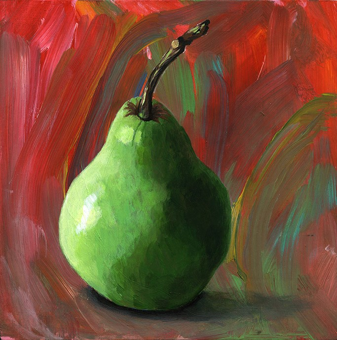 """green pear acrylic painting"" original fine art by Ria Hills"