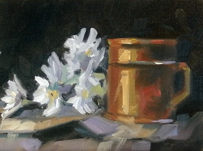"""No 726 Cup of Flowers"" original fine art by Robin J Mitchell"