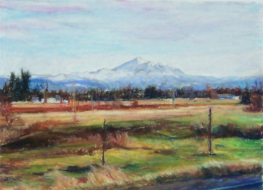 """Mt. Baker from Ferndale,landscape,oil pastel,9x12,priceNFS"" original fine art by Joy Olney"