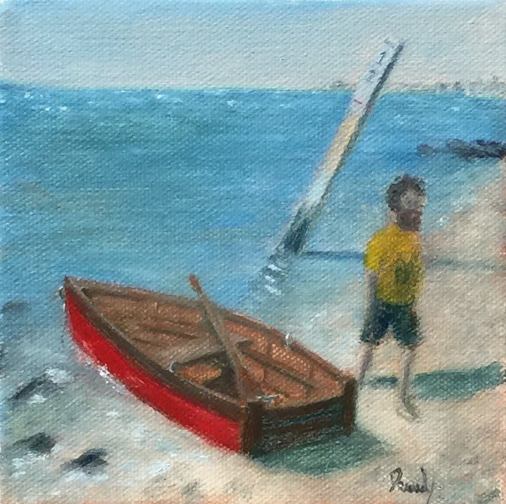 """Oarsman at Station 12 "" original fine art by Stephanie Drawdy"