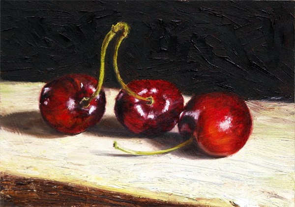"""Three Cherries #2"" original fine art by Peter J Sandford"