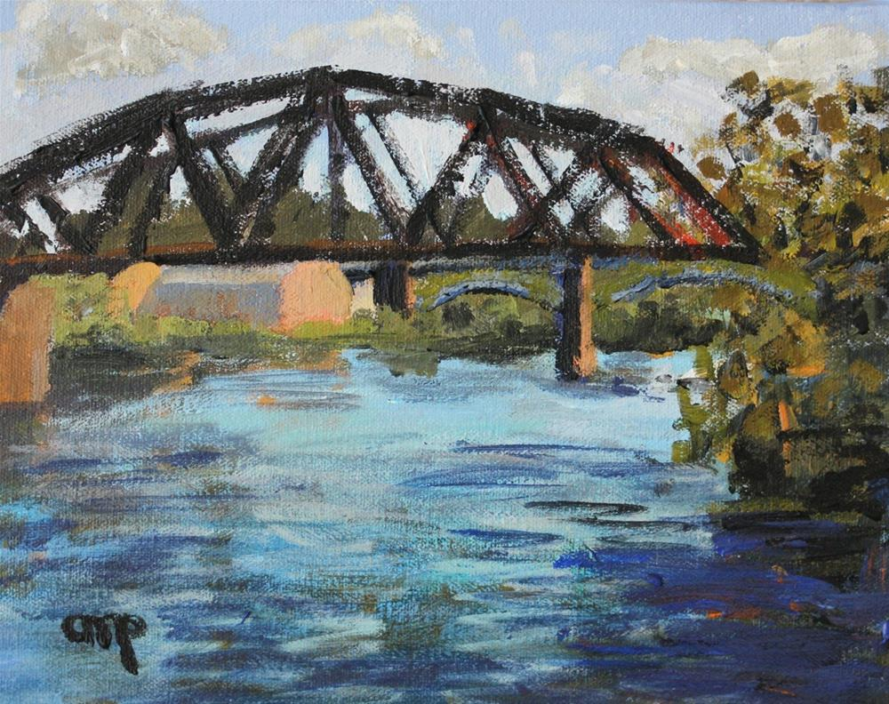 """""""Allegheny River Crossing viewed from North Side"""" original fine art by Christine Parker"""
