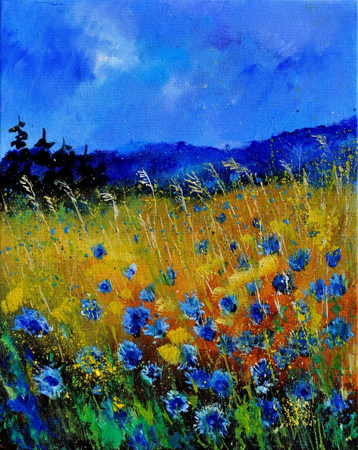 """cornflowers 45"" original fine art by Pol Ledent"